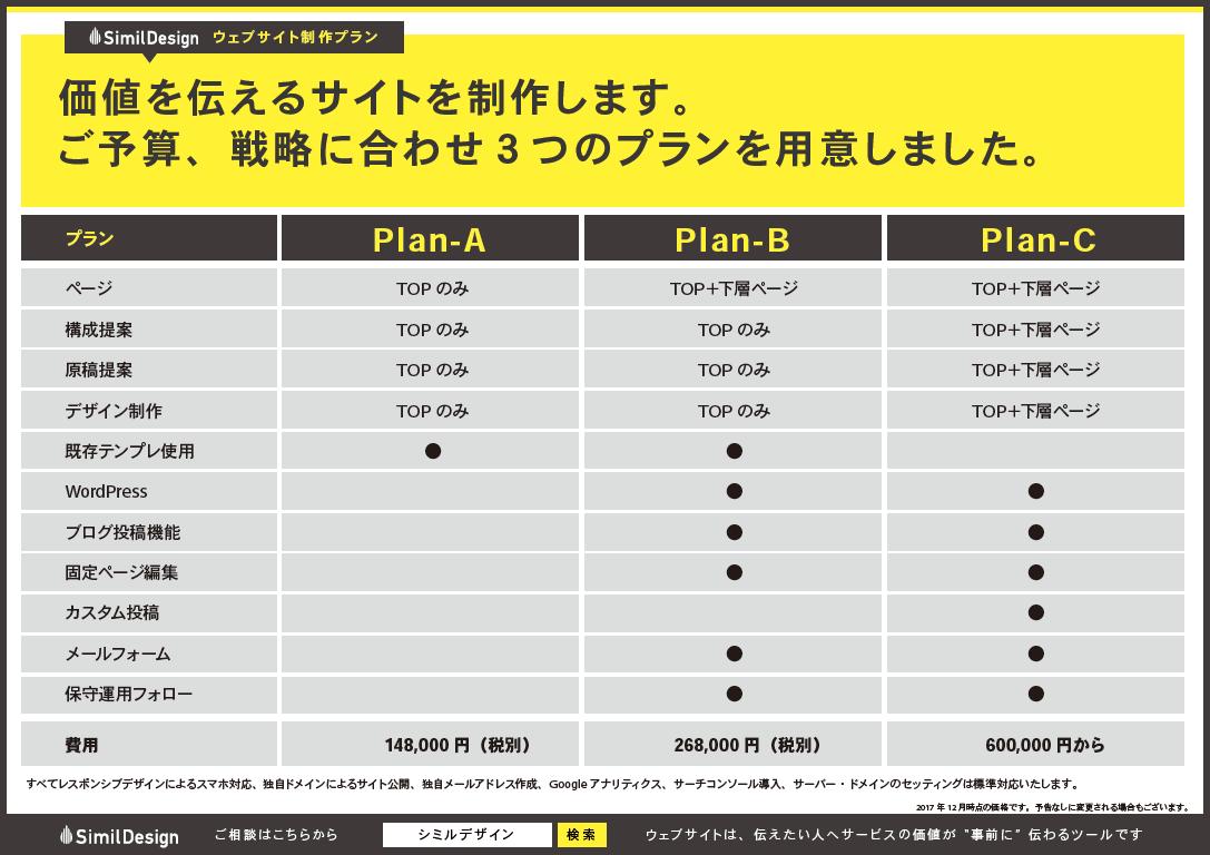 シミルデザインの料金表